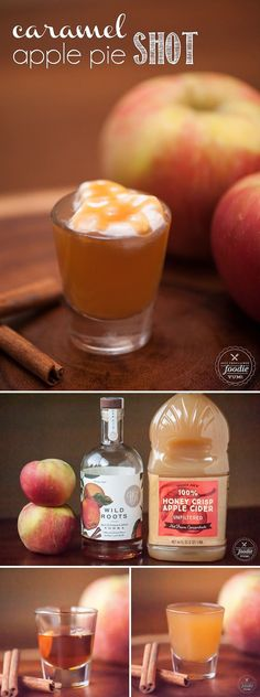 A Caramel Apple Pie Shot made with apple vodka is super easy to make and is so delicious, you'll be wishing this fall drink was served year round! vodka/ apple cider top w/ whipped cream & Carmel sauce Caramel Apple Shots, Apple Pie Shots, Caramel Apples, Apple Pie Drink, Caramel Apple Sangria, Caramel Vodka, Caramel Pie, Holiday Drinks, Party Drinks