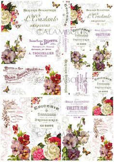OLD LABEL, MULBERRY PAPER, TAG, FLOWERS, ROSES, DECOUPAGE CALAMBOUR, VIOLET, LACE, BUTTERFLY, ROMANTIC , TT11