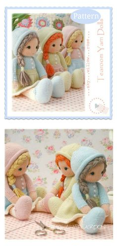 Adorable Doll Free Knitting Pattern and Paid - - The Adorable Doll Free Knitting Pattern is an ideal project when you have some cool scrap yarns to be used for dress, hair or some accessories. Knitting Dolls Free Patterns, Knitted Dolls Free, Teddy Bear Knitting Pattern, Knitted Teddy Bear, Free Knitting, Bear Patterns, Knitting Toys, Yarn Dolls, Fabric Dolls