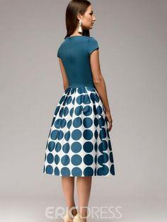 Ericdress Polka Dots Ball Gown Knee-Length A Line Dress
