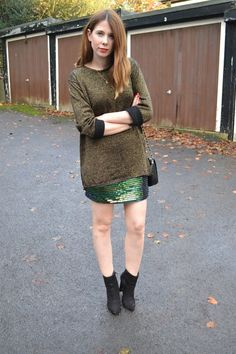 Lurex knit, sequin mini and ankle boots #AW14 #streetstyle
