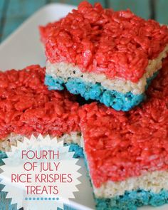 Red, White and Blue Fourth of July Rice Krispies Treats. So festive! Fourth Of July Food, 4th Of July Party, July 4th, Holiday Treats, Holiday Recipes, Holiday Foods, Holiday Fun, Holiday Desserts, Favorite Holiday
