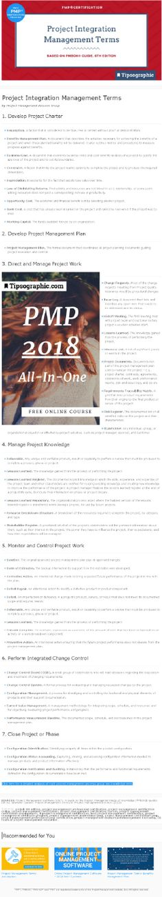 PMP Certification: Project Integration Management Terms (based on PMBOK® Guide, Edition) Agile Project Management Tools, Project Management Certification, Project Management Templates, Pmp Exam, Work Project, Always Learning, Online Courses, Certificate, How To Apply