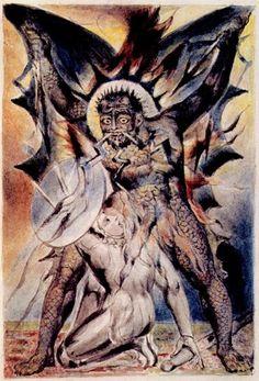 English: William Blake - John Bunyan Plate 20 The Christian Fights Apollyon