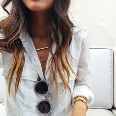 ombre hair, layered necklaces & that casual shirt. love it all.