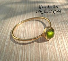 14K Solid Gold Stacking RingSolid Gold Dainty Ring14K Gold Tourmaline Ring, Green Tourmaline, 14k Gold Ring, Gold Rings, Dainty Ring, Make A Gift, Stackable Rings, Personalized Jewelry, Solid Gold