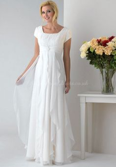 A-line Empire Ruffles Cap Sleeves Chiffon Classic Mother Of The Bride Dress #mother #bride #dress