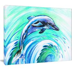 "DesignArt 'Jumping Dolphin Watercolor' Painting Print on Wrapped Canvas Size: 12"" H x 20"" W x 1"" D"