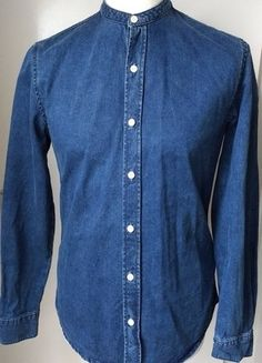 Buy here at #vinteduk http://www.vinted.co.uk/mens/shirts/6448503-topman-denim-grandad-shirt-blue-top-mens-size-s