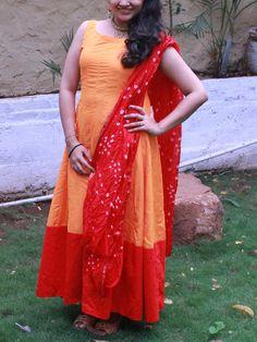 Orange Silk Anarkali with Red ghera & bandhani dupatta| Sweta Sutariya