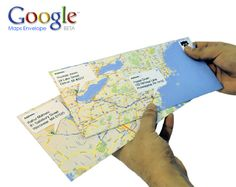 So fun! if you want creative envelopes, go to Maps, map the route from your letter to the other person's mailbox. Print them up, fold them into 8 by 11 envelopes. **would be great for 'envelope' gifts for a trip! Envelope Carta, Fold Envelope, Diy Projects To Try, Craft Projects, Crafty Craft, Crafting, Do It Yourself Inspiration, Little Presents, Ideias Diy