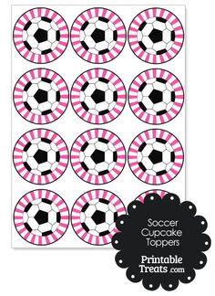 Pink Sunburst Soccer Cupcake Toppers from PrintableTreats.com