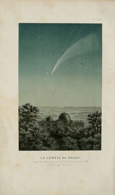 1870 Antique print of THE COMET DONATI. Bolide. Meteorite. Asteroid. Fireball. Old Astronomy print. 145 years old celestial print
