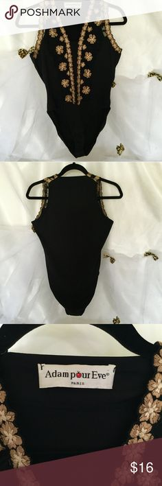 Adam pour Eve black bodysuit Size small adam pour eve. Made in France. Black stretch body suit with beautiful handmade gold flowers. Other