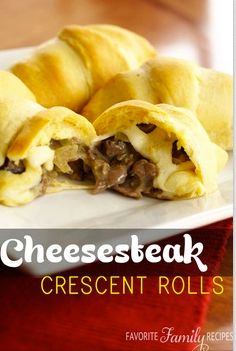 Cheesesteak Crescent Rolls  http://www.favfamilyrecipes.com/2012/12/cheesesteak-crescent-rolls.html