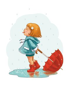Is this a sad rainy day? Girly Drawings, Art Drawings For Kids, Cartoon Drawings, Easy Drawings, Girl Cartoon, Cute Cartoon, Cartoon Art, Cute Illustration, Character Illustration