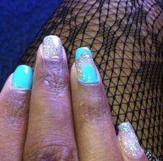"Sliver and ""Tiffany blue"" gel nails."
