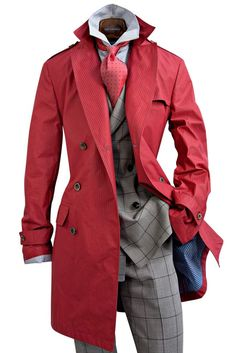 Montezemolo red trench | I only have one red piece of clothing in my closet.  This trench would make a nice addition.