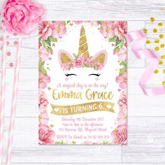 UNICORN INVITATION PINK GOLD CONFETTI UNICORN BIRTHDAY PARTY INVITE GLITTER