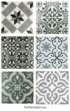 Farmhouse black and white stenciled tiles for a vintage farmhouse style look. Farmhouse black and white stenciled tiles for a vintage farmhouse style look. Farmhouse Style Kitchen, Modern Farmhouse Style, Vintage Farmhouse, Home Decor Kitchen, Home Decor Bedroom, Farmhouse Decor, Country Decor, Country Farmhouse, Nursery Decor