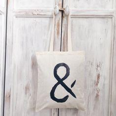 Cotton Canvas tote bag ampersand symbol black &