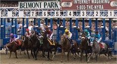 Belmont 2007 - the filly Rags to Riches stumbles coming out of the starting gate. 6/2007