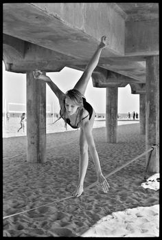 Girl Balances on Slackline, Huntington Beach by Ed Templeton