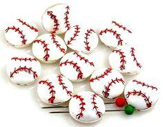 12 baseball ball 2 hole slider bead 12 for $11.00.  Mobil boutique.