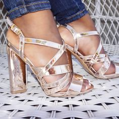 291a81fe3dc Sexy Rose Gold Strappy Triangle Chunky Heel Single Soles Patent Faux Leather