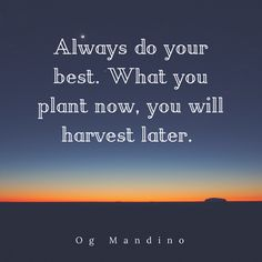 Never forget you harvest what you plant!
