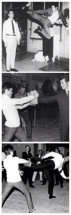 Bruce Lee and James Garner on the set of Marlowe (1969)