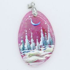 HAND PAINTED SCENERY GEMSTONE UNIQUE NECKLACE PENDANT BEAD H0000079 #ZL #PENDANT