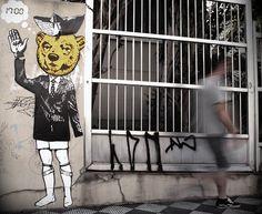 Stencil art by ALTO*CONTRASTE (aka Lee & Lou). Ipiranga, São Paulo, Brazil.