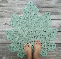 Sage or Spruce Green Cotton Crochet Rug in by byCamilleDesigns