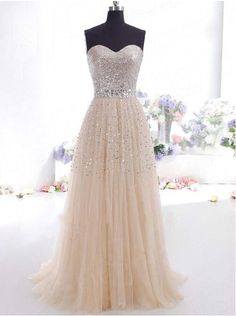 Sweetheart Sequins Tulle Prom Dress Elegant Long Party Dresses