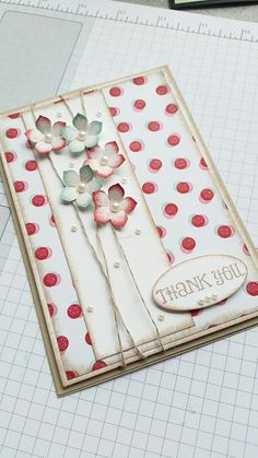 handmade card ... luv the main panel ... column with wrapped string and a cluster of pucnched flowers ... white and red ... Stampin'Up!