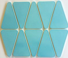 """Kiln Ceramic Tile Color Splash - Our Kiln Ceramic """"Wedge"""" tile color """"Splash"""" is a tropical teal blue. There are 10 tiles per square foot of material"""