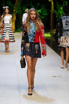 Dolce & Gabbana Spring 2017: Stella Maxwell walks the runway in embellished band jacket with embroidered denim skirt