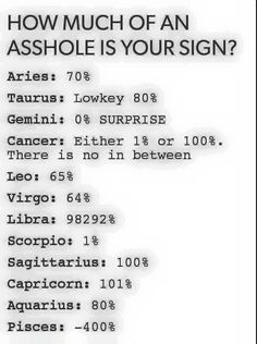 Zodiac signs by assh*le %<<<I'm a Gemini, and is more than a surprise! This is sooooo damn true! Just look at freakin' Libra. Le Zodiac, Zodiac Funny, Zodiac Signs Sagittarius, Zodiac Sign Traits, Zodiac Star Signs, Zodiac Horoscope, Zodiac Quotes, Libra Funny, Zodiac Love Compatibility