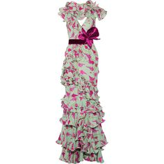 Johanna Ortiz Queen Elizabeth ruffled printed silk crepe de chine gown (€2.320) ❤ liked on Polyvore featuring dresses, gowns, mint, v-neck dresses, ruffle collar dress, green silk dress, collar dress and green ball gown
