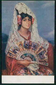 art CARDONA Spanish Gypsy Mantilla Veil Shawl Lady original old 1910s postcard