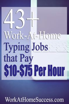 Are you trying to find work at home jobs that pay 10 an hour or even more? Although you do save money in all kinds of ways by working from home Typing Jobs From Home, Online Typing Jobs, Work From Home Jobs, Online Jobs, Home Based Jobs, Online Cash, Earn Money From Home, Way To Make Money, Make Money Online
