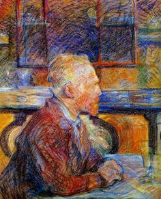 Gorgeous coloring, as Vincent Van Gogh looks out at the sun, in a Paris cafe. Toulouse Lautrec sketching that determined head.