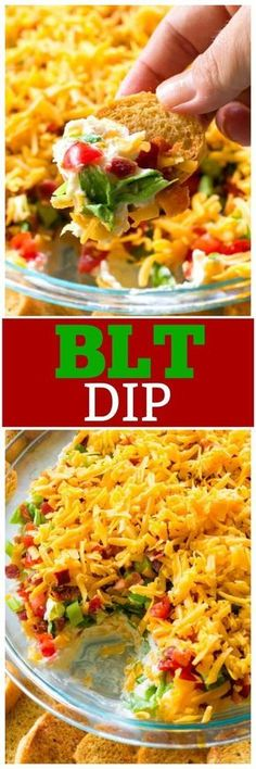 This BLT Dip is a no-bake appetizer with layers of cream cheese tomatoes green onions bacon and cheddar cheese. This BLT Dip recipe is great for taking to a potluck or BBQ and tends to be the first thing to go. the-girl-who-ate- Finger Food Appetizers, Appetizer Dips, Yummy Appetizers, Appetizers For Party, Appetizer Recipes, Party Dips, Recipes Dinner, Party Snacks, Tapas