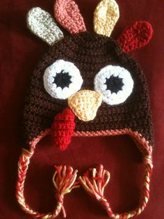 Crocheted Turkey hat made using repeat crafter me basic pattern.