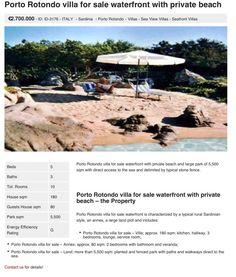 Porto Rotondo: Porto Rotondo villa for sale waterfront with private beach