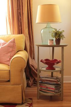 """I like the colors in here.  I love the aqua/green of the glass lamp base, the yellow/orange tones of the lampshade, sofa and window coverings and I like the punch of red in the scalloped bowl on the side table.  Nice!  Kassie's """"Happy and Cozy"""" Room"""