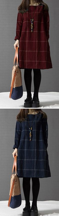 US$ 16.33 Casual Women Loose Plaid Long Sleeve O-Neck Dress