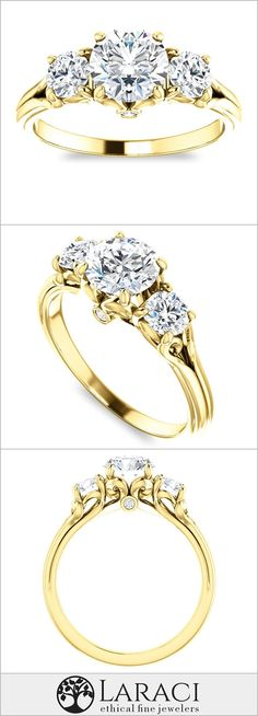 14K Yellow Gold Accented Three Stone Engagement Ring set with a 1ct (6.5mm) Round Forever One Near Colorless Moissanite