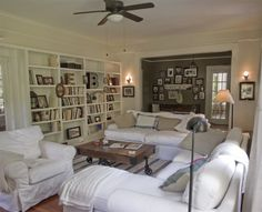 decor, craftsman cottage living, coffee tables, bookcases, family rooms, cottages, angl, cottage living rooms, live room